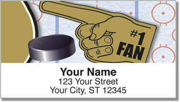 Black & Gold Hockey Address Labels
