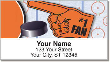 Orange & Black Hockey Address Labels