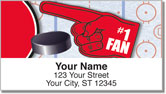 Red & Black Hockey Address Labels