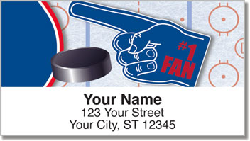 Red & Blue Hockey Address Labels