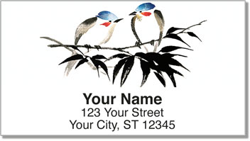 Japanese Bird Art Address Labels