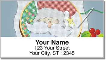 Christmas Cross Stitch Address Labels