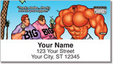 Bodybuilder Cartoon Address Labels
