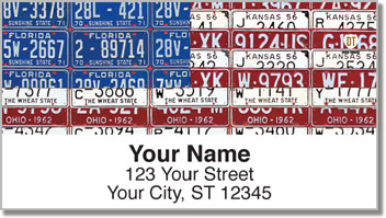 Americana License Plate Address Labels
