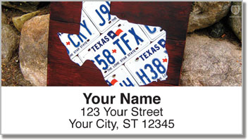 Texas License Plate Address Labels