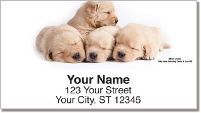 Sleepy Golden Pup Address Labels