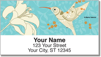 Floral Hummingbird Address Labels
