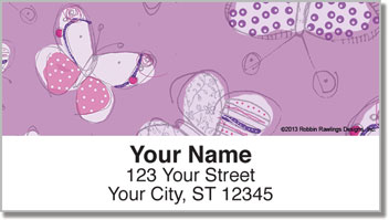 Sepia Butterfly Purple Address Labels