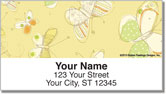 Sepia Butterflies Yellow Address Labels