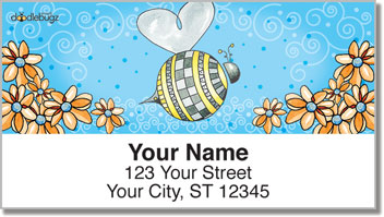Orange Daisies with Bees Address Labels