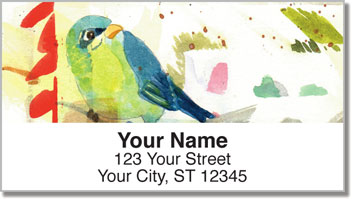 Mixed Media Birds Address Labels