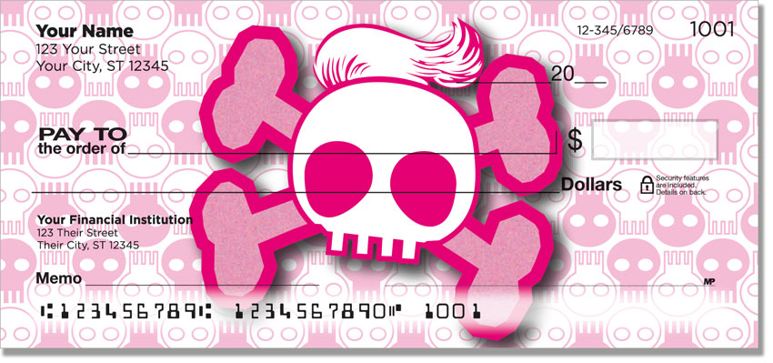 Stylish Skulls with Bows Personal Checks