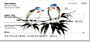 Japanese Bird Art Checks