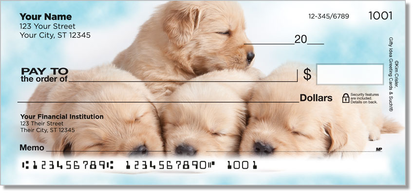Sleepy Golden Pups Personal Checks
