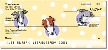 Cartoon Greyhounds Personal Checks