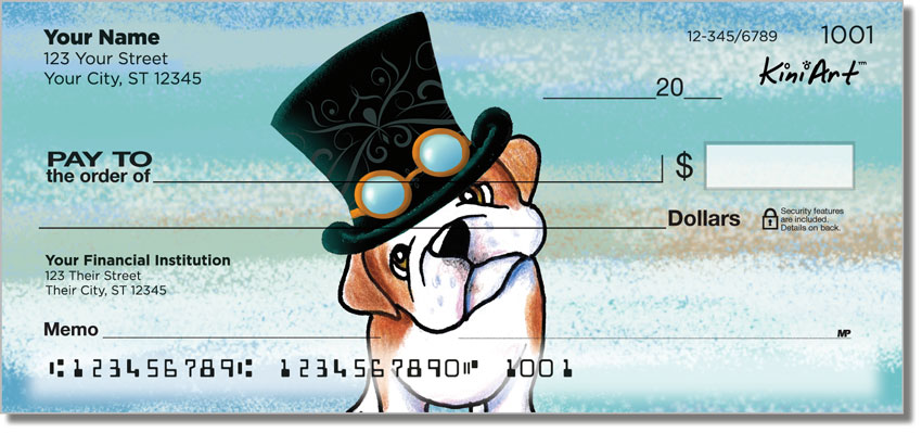 English Bulldog Art Personal Checks