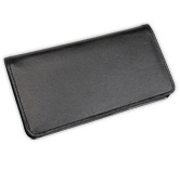 Basic Black Leather Checkbook Cover