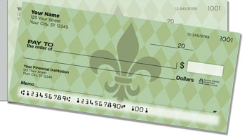 Green Fleur de Lis Side Tear Checks