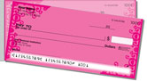 Pink Corner Scroll Side Tear Checks