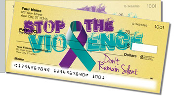 Domestic Violence Awareness Side Tear Checks