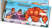 Bodybuilder Cartoon Side Tear Checks